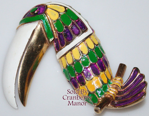 Vendome Enameled Toucan Bird Brooch by Coro Vintage Mid Century 1950s Couture Designer Fashion Jewelry Gift