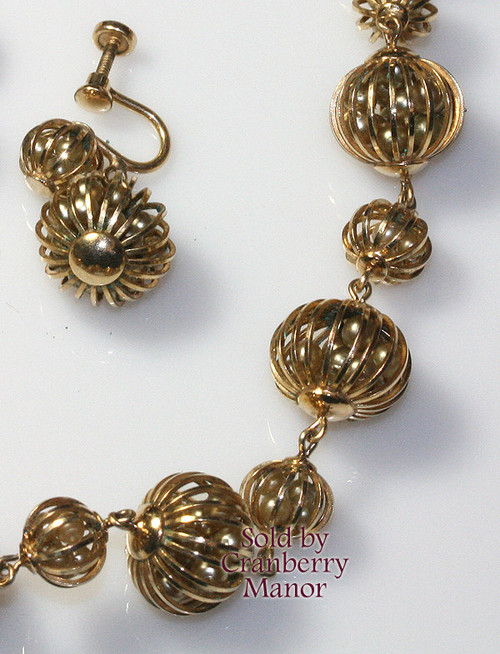 Orb Gold Wire Caged Pearl Necklace & Earrings by Winard Naomi Vintage 1940s Mid Century Designer Fashion Jewelry Gift