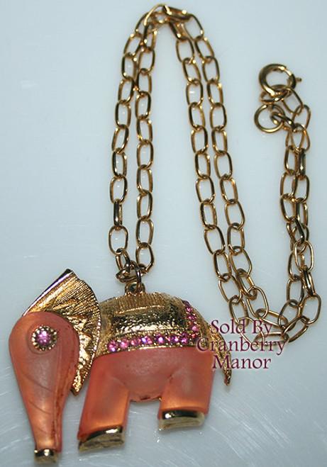 Pink Frosted Glass Rhinestone Elephant Pendant Necklace Boho Bohemian Vintage 1970s Fashion Jewelry Gift