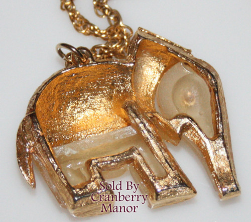 Amber Frosted Glass Rhinestone Elephant Pendant Necklace Boho Bohemian Vintage 1970s Fashion Jewelry Gift