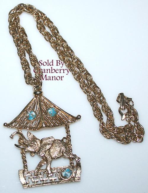 Elephant Pendant Necklace w/ Blue Cabochons Vintage 1970s Fashion Jewelry Gift