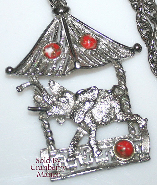 Elephant Pendant Necklace w/ Red Cabochons Vintage 1970s Fashion Jewelry Gift