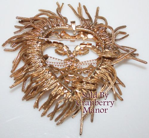 Lion Heart Rhinestone Brooch Pendant Necklace for Valentine's Day Vintage 1970s Fashion Jewelry Gift