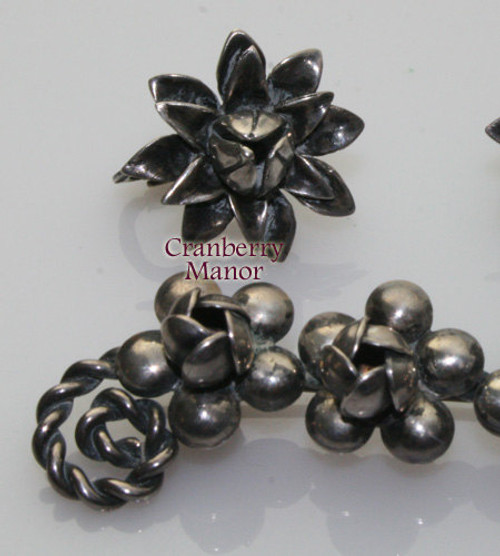 Sterling Silver Rose Brooch & Earrings Demi Parure Vintage Mid Century 1940s Designer Fashion Jewelry Gift