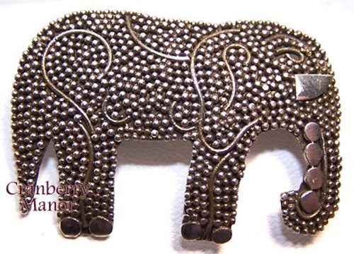 Sterling Silver Marcasite Elephant Brooch Vintage 1980s Designer Fashion Jewelry Gift