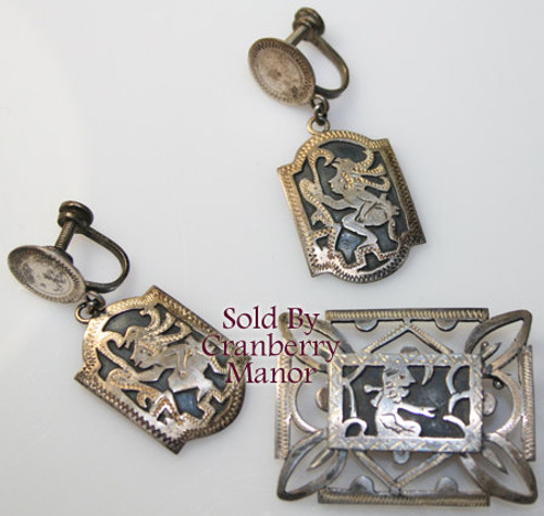 Guatemala Sterling Silver Brooch & Coin Silver Earrings Vintage Mid Century 1950s Designer Fashion Souvenir Jewelry Gift