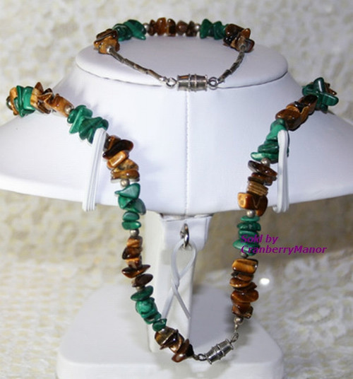 Mother Pearl Tigers Eye Malachite Fetish Necklace & Bracelet Demi Parure Vintage 1970s Fashion Jewelry Gift