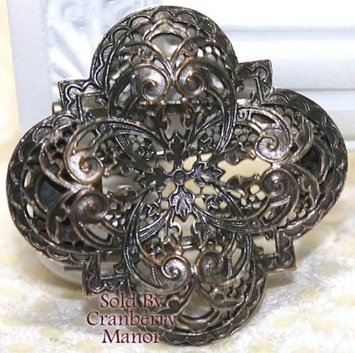 A-F Paris France Silver Filigree Art Nouveau Brooch Clip Vintage Mid Century 1940s French Designer Couture Fashion Jewelry Gift