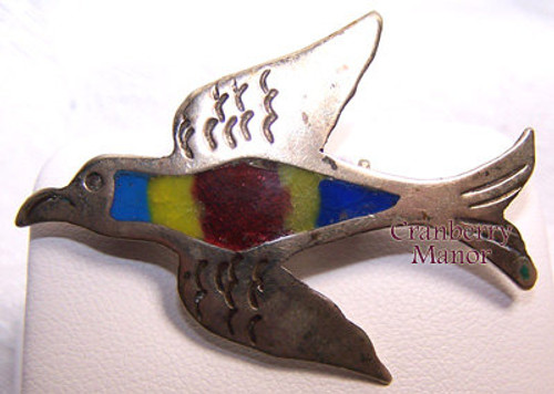 Sterling Silver Inlaid Rainbow Bird Brooch from Taxco Mexico Vintage Mid Century 1940s Mexican Designer Fashion Jewelry Gift