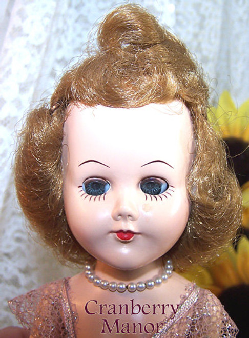 Ballerina Dancer Toy Doll in Pink Tutu Hard Plastic Walker Vintage Mid Century 1950s Gift