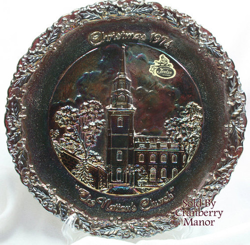 Fenton Black Carnival Art Glass Christmas In America Series The Nation's Church Plate Vintage 1970s American Designer Gift