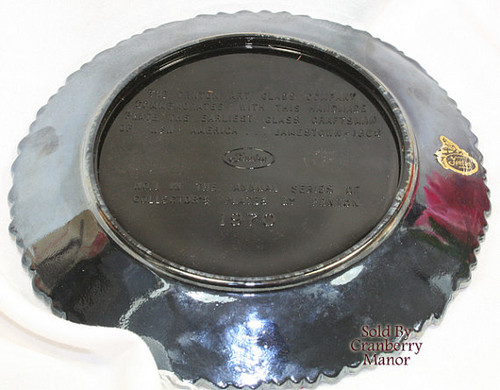 Fenton Black Carnival Art Glass Craftsman Series Glassblower Plate Vintage 1970s American Designer Gift