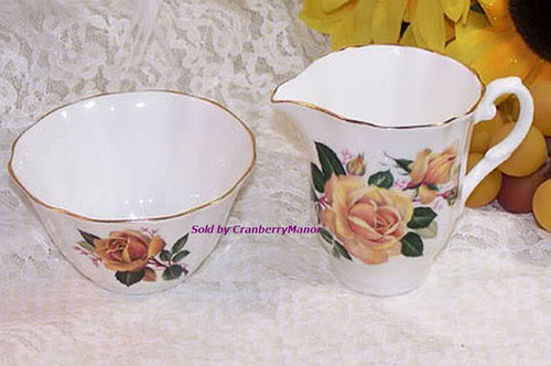 Yellow Rose Cream & Sugar by Royal Grafton from England Vintage 1930s English Designer Fine Bone China Gift