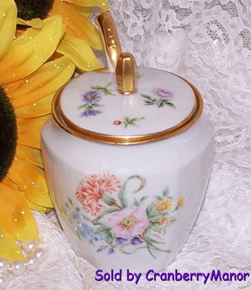 Jam Jelly Mustard Pot w/Ladel by RS Germany Vintage 1920s German Designer Gift