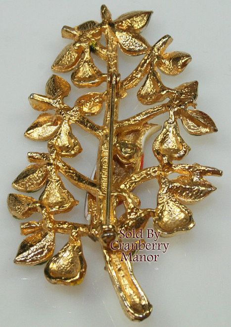 Cadoro Partridge in a Pear Tree Brooch Christmas Winter Holiday Figural Vintage Mid Century 1960s Designer Fashion Jewelry Gift
