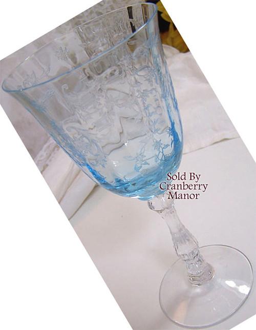 Fostoria Blue Navarre On Wilma Claret Etched Wine Glass Vintage 1970s American Designer Wedding Bride Bridal Gift