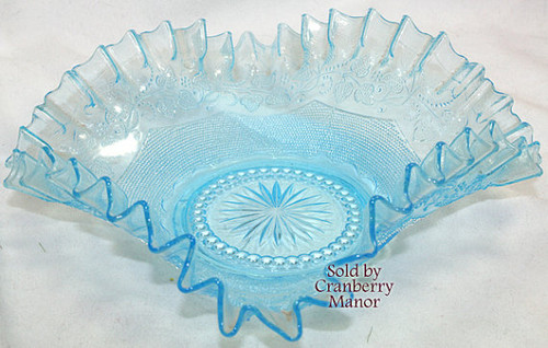 Antique Flora Ice Blue Radeberg Glass from Germany Square Ruffled Pressed Bride's Bowl Vintage 1800s German Designer Gift
