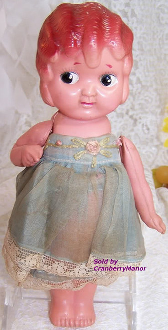 Plastic Kewpie Carnival Game Prize Flapper Toy Doll from Japan Original Blue Dress Vintage 1930s Japanese Designer Import Gift
