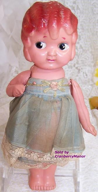 Plastic Kewpie Carnival Game Prize Flapper Toy Doll from Japan Original Blue Dress Vintage 1930s Japanese Designer Import Gift