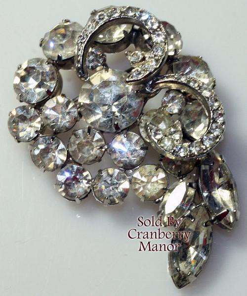 Crystal Rhinestone Brooch Vintage Mid Century 1960s Bride Bridal Wedding Fashion Jewelry Gift