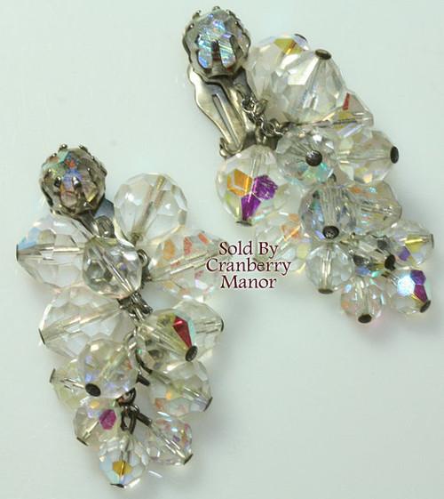 Crystal Rhinestone Dangle Earrings Vintage Mid Century 1960s Fashion Jewelry Gift