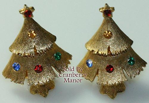 Ruby Red & Emerald Green Rhinestone Christmas Tree Earrings Vintage 1980s Fashion Jewelry Gift