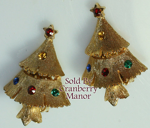 Ruby Red & Emerald Green Rhinestone Christmas Tree Earrings Vintage 1980s Fashion Jewelry Gift