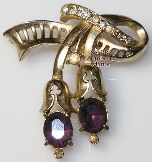 Amethyst Purple Rhinestone Tulip Brooch by Coro February Birthstone Vintage Mid Century 1950s Designer Fashion Jewelry Gift