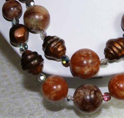 Bronze Beaded Flapper Choker Necklace by Laguna Vintage Mid Century 1940s Designer Fashion Jewelry Gift AS IS