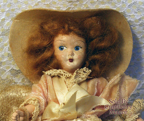 Composition & Plastic Southern Belle Toy Doll in Original Dress Vintage Mid Century 1940s Gift