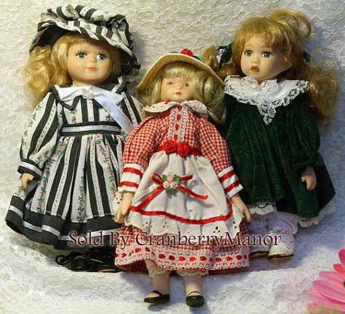Porcelain Toy Doll Lot of 3 Fancy Dress Vintage Collectible Gift