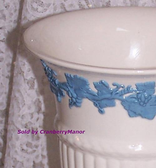 Wedgwood Blue & White Embossed Queen's Ware Vase w/ Relief Grape Vine from England Vintage Mid Century 1950s English Designer Eturia Barlaston Porcelain Gift