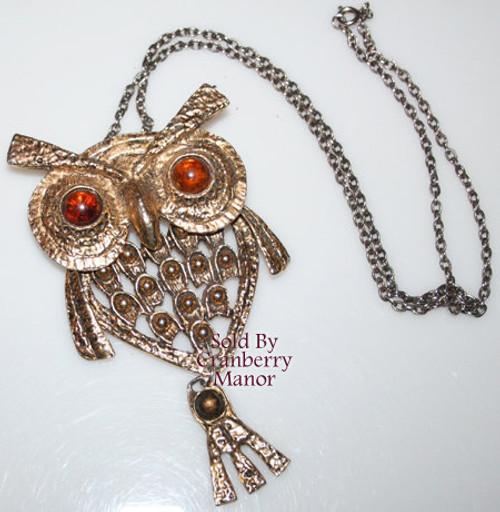 Topaz Brown Rhinestone Owl Pendant Necklace Vintage 1970s Fashion Jewelry Gift