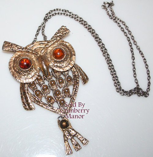 Topaz Brown Rhinestone Owl Pendant Necklace Vintage 1970s Fashion Jewelry Gift