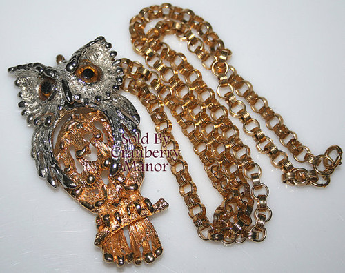 Silver & Gold Owl Necklace Pendant w/Brown Rhinestone Vintage Fashion Jewelry Gift