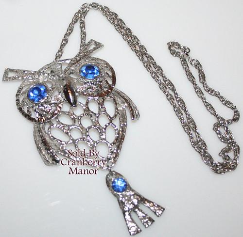 Silver Owl Necklace Pendant w/Blue Rhinestone Vintage 1970s Fashion Jewelry Gift