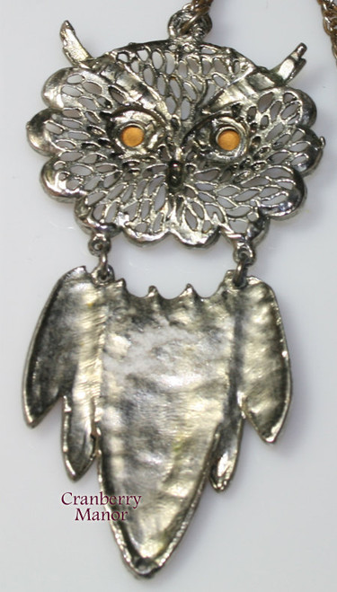 Opal Moonstone Rhinestone Silver Owl Necklace Pendant Vintage 1970s Fashion Jewelry Gift