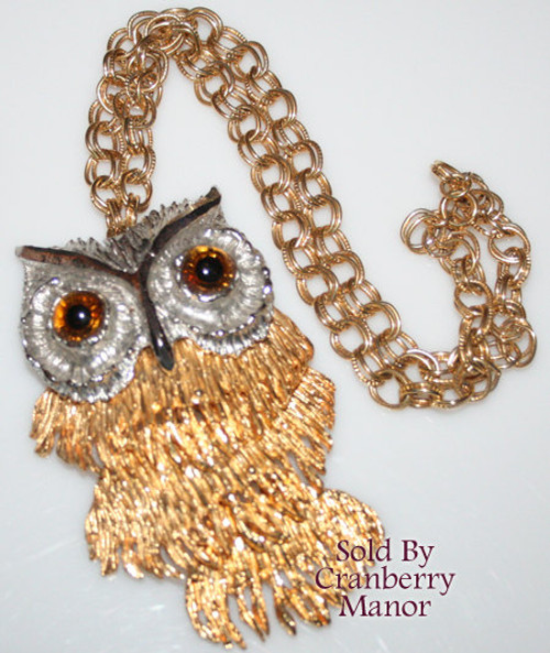 Silver & Gold Owl Pendant Necklace Vintage 1970s Fashion Jewelry Gift