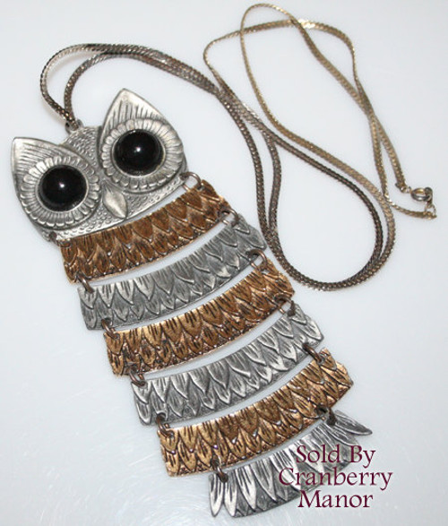 Silver & Gold Owl Pendant Necklace w/Black Cabochon Eyes Vintage Fashion Jewelry Gift