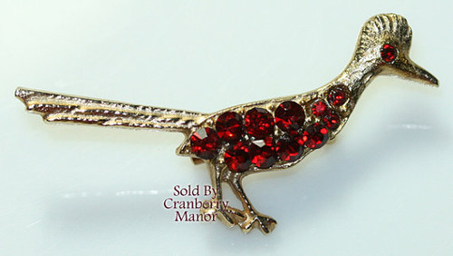 Rhinestone Roadrunner Bird Brooch Vintage Fashion Jewelry Gift