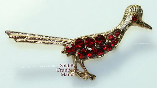 Rhinestone Roadrunner Bird Brooch Vintage Fashion Jewelry Gift