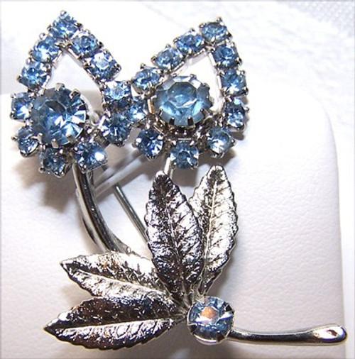 Vintage Blue Rhinestone & Silver Tulip Brooch Vintage Fashion Jewelry Gift