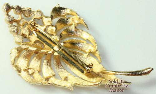 Topaz Brown Rhinestone Gold Leaf Brooch Flower Vintage 1980s Fashion Jewelry Gift
