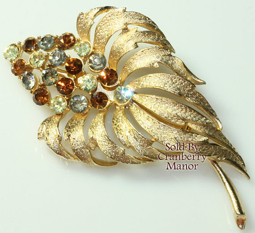 Topaz Brown Rhinestone Gold Leaf Brooch Flower Vintage 1980s Fashion Jewelry Gift
