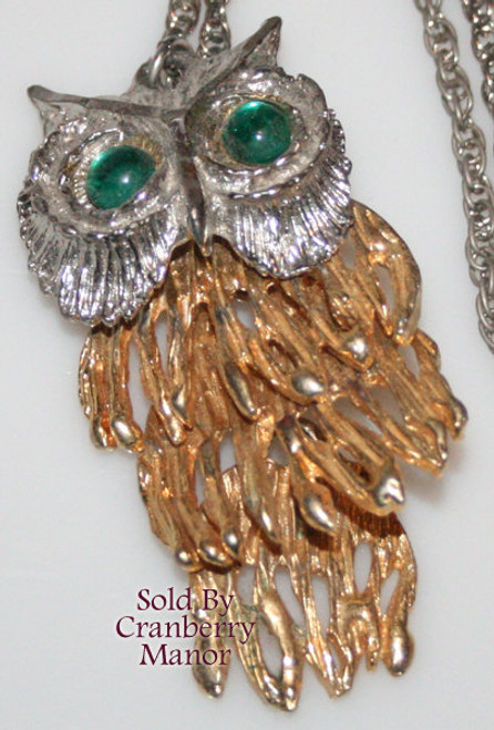 Rhinestone Owl Pendant Necklace Vintage 1970s Fashion Jewelry Gift