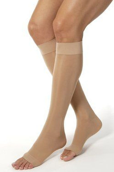 Knee High w/ Grip Top Firm Compression 20-30Mmhg Open Toe Style A2118B L Beige