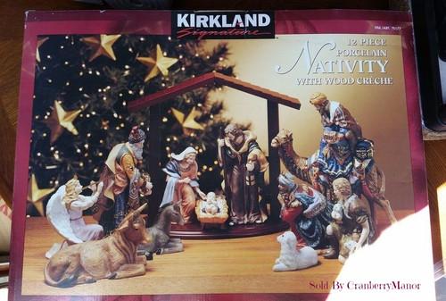 Kirkland Signature Costco 12 Piece Porcelain Christmas Nativity with Wood Creche - NEW