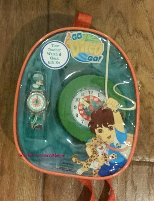 Go Diego Go Time Teacher Watch & Clock Gift Set from Mervyns, c2003