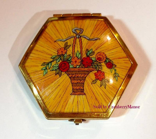 Houbigant Paris New York Flower Basket Compact with Rouge Makeup Powder, Puff & Mirror Vintage 1930s Vanity Accessory