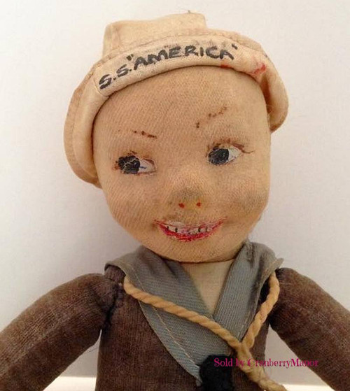 Norah Wellings Cloth Jollyboy Sailor Toy Doll, SS America, Vintage 1930s Collectible Gift